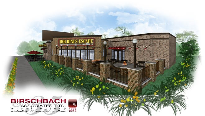 Illustration of how Houdini's Escape Gastropub will look after expansion and remodeling.