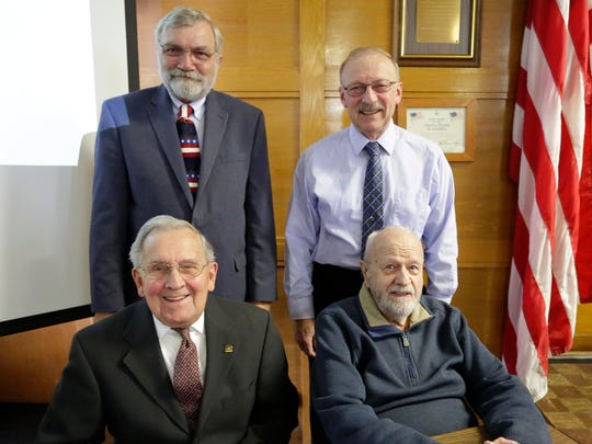 30 years of Service - Four Sheboygan County Board members posing before a county board meeting, from left front row: Roger Otten and Dick Bemis and in back Bill Gehring and Roger Te Stroete. Each of them have over 30 years of service to Sheboygan County,  Tuesday, April 17, 2018, in Sheboygan, Wis.