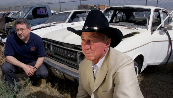 2001:  George Weisz (left), who led an investigation into the Don Bolles murder case,   and retired Phoenix police homicide Detective Jon Sellers, the lead investigator on the case in the 1970s, revisit Bolles' car in May 2001.