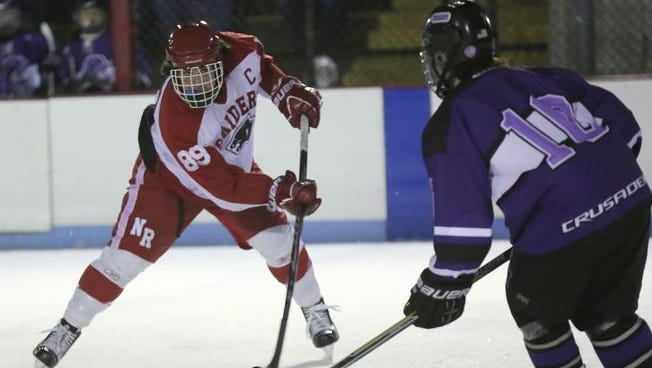 North Rockland's Brian Bohlander (89) takes a wrist-shot during the first annual Winter Classic Hockey Tournament against Monroe-Woodbury at the Bear Mountain Ice Rink in Tompkins Cove on Friday, Dec. 18, 2015.