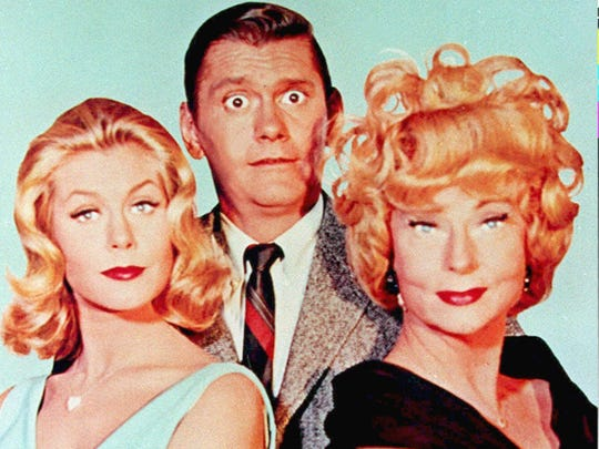 "Elizabeth Montgomery, Dick York and Agnes Moorehead starred in ""Bewitched."""