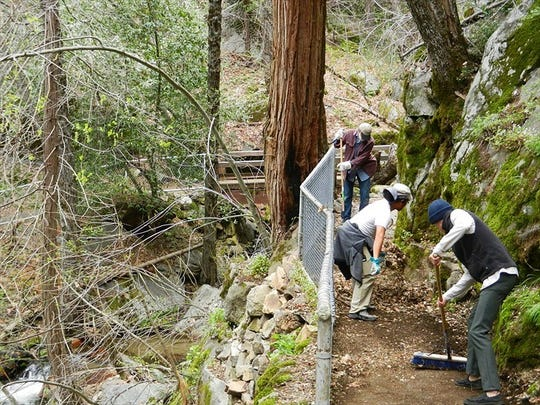 Volunteers work every year to clear the Crystal Cave trail in preparation for its seasonal opening.