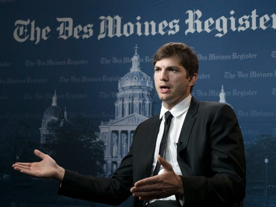 Actor and Iowa native Ashton Kutcher talks with The Des Moines Register about his work Saturday, April 8, 2017, during the All-Star Evening event at the Robert D. and Billie Ray Center in West Des Moines. Kutcher was in town to receive the 2017 Robert D. Ray Award.