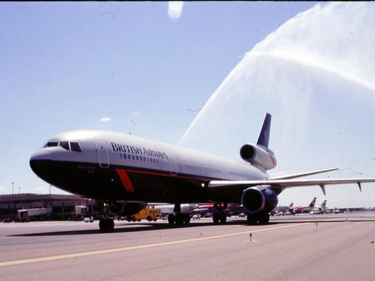 Water cannons celebrate the inauguration of British Airways' nonstop, direct service between London and Phoenix on July 1, 1996.