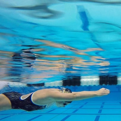 Purdue breaststroke swimmer Emily Fogle works out Wednesday,
