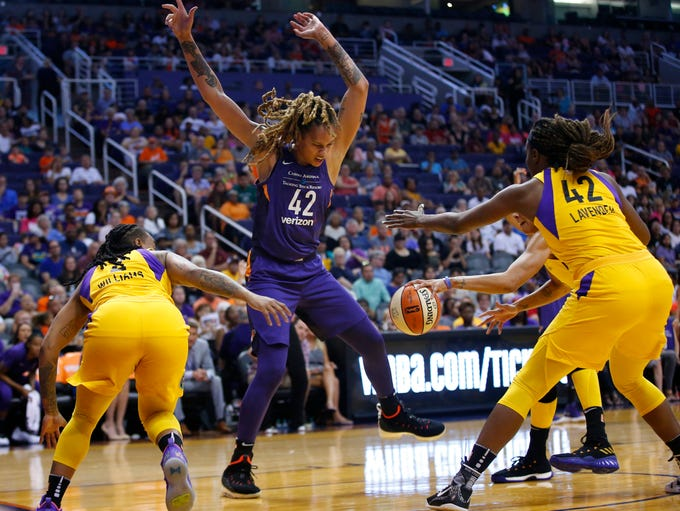 Los Angeles Sparks guard Riquna Williams (2) fouls