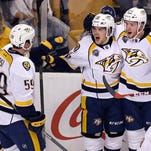 Viktor Arvidsson, one of four Predators rookie forwards currently in the team's lineup, has two goals in his past four games