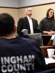 Larry Nassar listens as Kassie Powell addresses Ingham Circuit Judge Rosemarie Aquilina on Jan. 19, 2018.