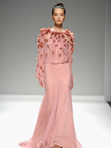 Bibhu Mohapatra kicked off Day 7 of New York Fashion Week, sweeping the runway with a fleet of soft pastel gowns with bold accents.