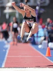 Samantha Lopes, of Wallkill, triple jumps at Penn Relays.