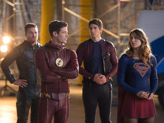"Stephen Amell as Oliver Queen, Grant Gustin as Barry Allen, Brandon Routh as Ray Palmer/Atom and Melissa Benoist as Kara/Supergirl in the CW's ""DC's Legends of Tomorrow."""