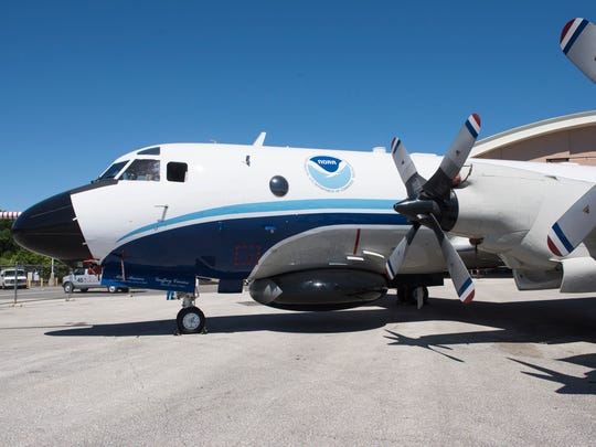 "NOAA's Lockheed WP-3D Orion, nicknamed ""Kermit"" after"