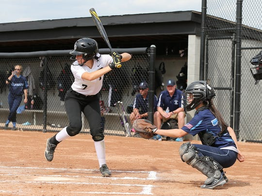 Getting ready to take a cut during Monday's KLAA varsity softball game is Plymouth's Rachel Zerona.