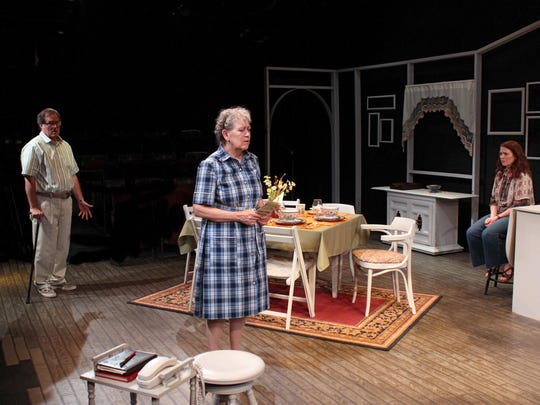 """Tobin Hissong, Karen Sheridan and Dani Cochrane in the Michigan Premiere of """"The Safe House"""" by Kristine Thatcher at the Williamston Theatre."""