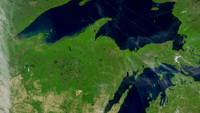 Lake Superior, the Upper Peninsula of Michigan, Wisconsin and Lake Michigan on June 7, 2017.