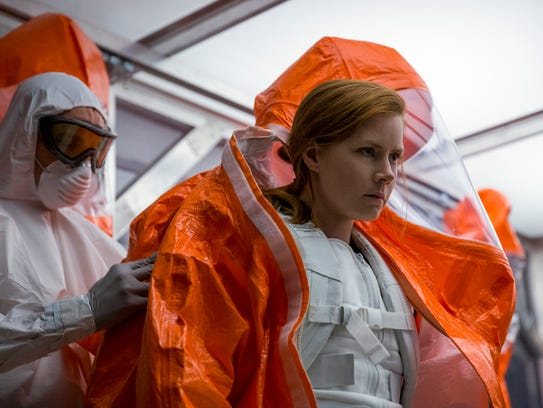 Amy Adams communicates with aliens in 'Arrival.'