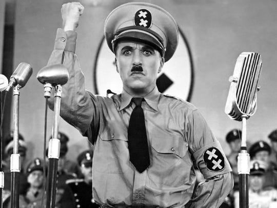 Charlie Chaplin mocks Hitler as the leader of fictional