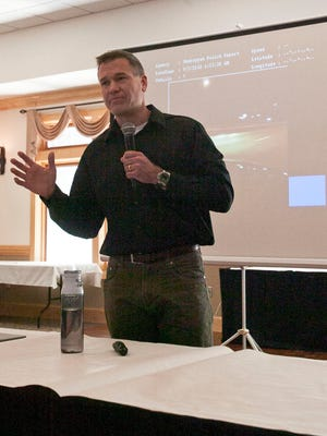 """Lt. Bill Adams of the Sheboygan Police Department discuses the""""Anatomy of a officer shooting"""" at a Chamber of Commerce event on Friday, Jan. 6."""