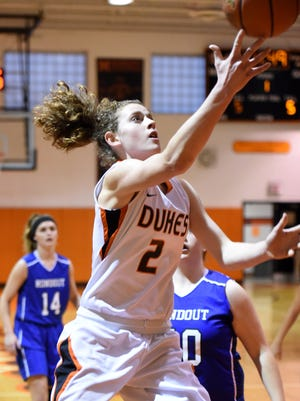 Marlboro's Missy Sadler goes for a layup against Rondout Valley on Feb. 24 in the Section 9 Class B quarterfinals.