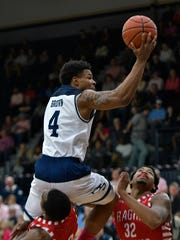 Georgia Southern guard Tookie Brown takes the ball to the basket in a loss to UL last season. The two teams meet again Saturday.