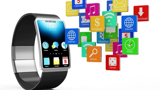 Advanced Technology Concept. Modern Black Smart Watch with Cloud of Application Icons isolated on white background