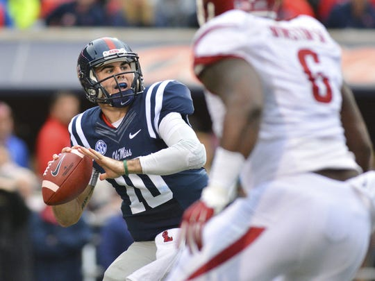 Chad Kelly threw for 368 yards, ran for 110 and was responsible for six touchdowns against Arkansas in 2015.