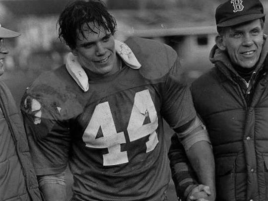 Middletown North fullback Pat Toland after the the Lions won the NJSIAA Central Jersey Group IV title in 1983.