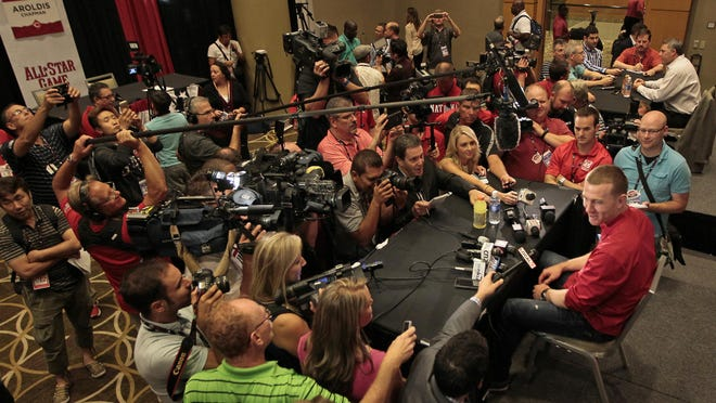 Cincinnati Reds third baseman and All-Star Game starter Todd Frazier fields questions during media availability at the Westin Cincinnati hotel in Downtown Cincinnati.