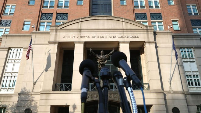 ALEXANDRIA, VA - AUGUST 16:  Microphones are setup in front of the Albert V. Bryan United States Courthouse as the jury deliberates in the trial of Trump campaign chairman Paul Manafort, on August 16, 2018 in Alexandria, Virginia. Manafort has been charged with bank and tax fraud as part of special counsel Robert Mueller's investigation into Russian interference in the 2016 presidential election. (Photo by Mark Wilson/Getty Images) ORG XMIT: 775210600 ORIG FILE ID: 1017570766