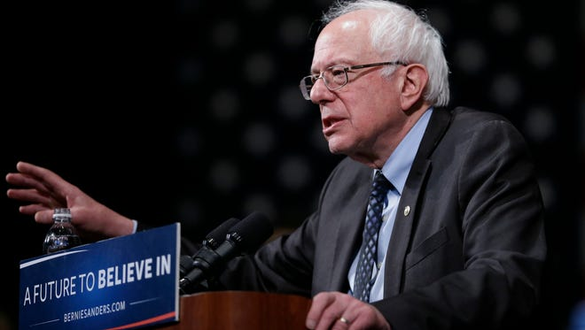 Democratic presidential candidate, Sen. Bernie Sanders, I-Vt., speaks during a campaign rally, Monday, March 7, 2016, in Dearborn, Mich. (AP Photo/Charlie Neibergall)