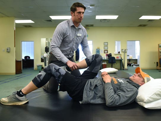 Benchmark physical therapist Chase Best works with