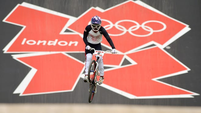 Alise Post powers down the track during the seeding run in the BMX competition at the 2012 Olympic Games in London.
