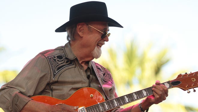 Duane Eddy performs on the Palomino Stage on Sunday, April 27, 2014 during the final day of the Stagecoach country music festival in Indio, Calif.