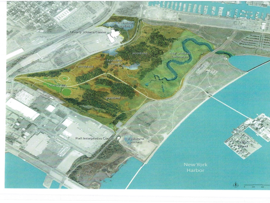 An artist's rendering of the Liberty State Park restoration