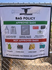 A poster showing Country Thunder Arizona's clear bag