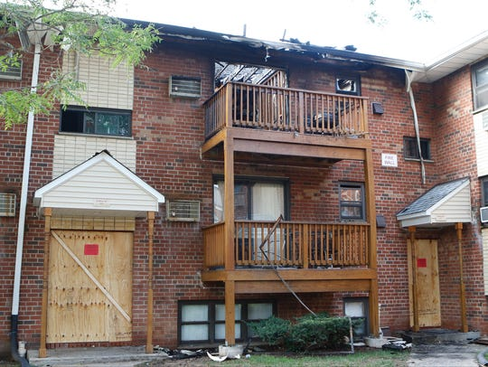 Aftermath of a fire that displaced residents of the