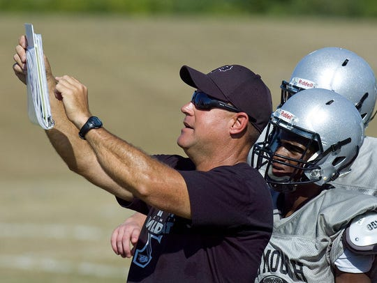 Plymouth varsity football coach Mike Sawchuk reviews