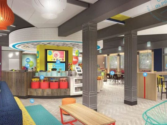 A view of The Hive re-envisioned lobby under the Tru