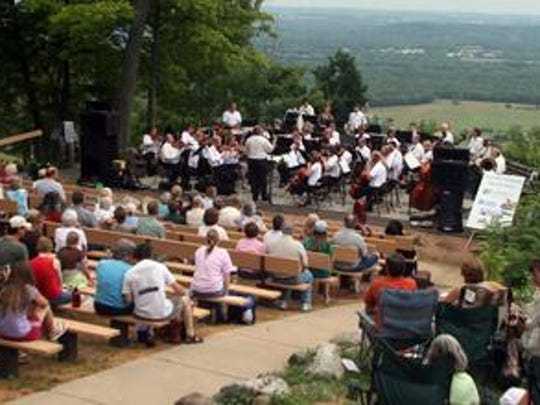 Wausau Symphony Orchestra performs to a large crowd gathered at Rib Mountain State Park as part of Concert in the Clouds in 2008.