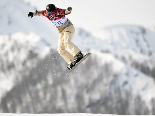 Lindsey Jacobellis (USA) on her first run in the ladies snowboardcross in the 2014 Winter Olympics.