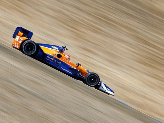 Charlie Kimball powers his No. 83 Novolog Flexpen Chip Ganassi Racing Chevrolet Dallara during practice for the Verizon IndyCar Series GoPro Grand Prix of Sonoma in 2015.