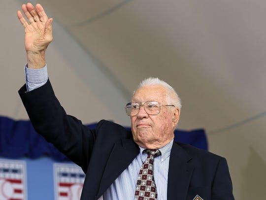 The late Bob Feller, of Van Meter, attends the Baseball