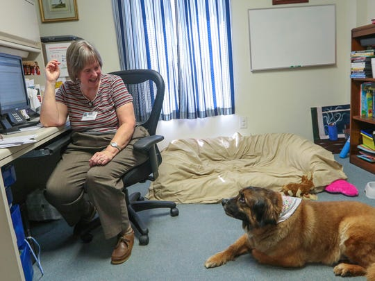 Judie Cooper looks at her dog Maggie, who works as a therapy dog with her on Wednesday's at the South Carolina Department of Mental Health's Anderson Oconee Pickens Mental Health Center in Anderson.