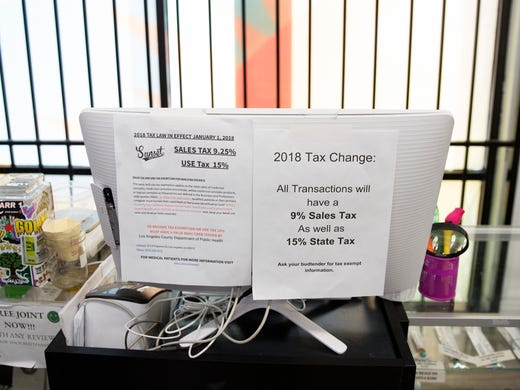 Information flyers about state and sales tax is seen