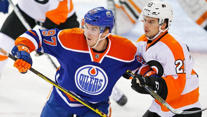 Edmonton superstar Connor McDavid, left, has six points in four career games against the Flyers.