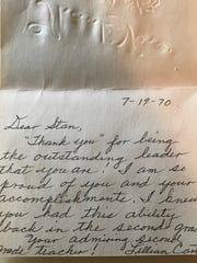 Lillian Carter's note of encourage to Abilene High senior-to-be Stan Lambert, in 1970.