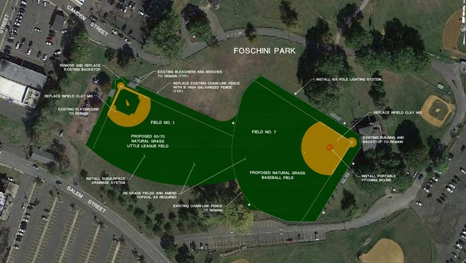 Aerial view of the proposed improvements to baseball fields at Foschini Park.