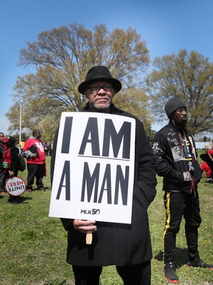Paul Brooks Sr. joins  the I Am A Man march at Mason Temple COGIC to commemorate the 50th Anniversary of Martin Luther King Jr.'s assassination Wednesday, April 4, 2018, in Memphis, Tenn.