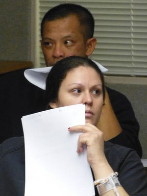 Rachel Rowe and Jesse Tern, shown Tuesday in Shasta County Superior Court, are both being charged with murder and other crimes, including arson.