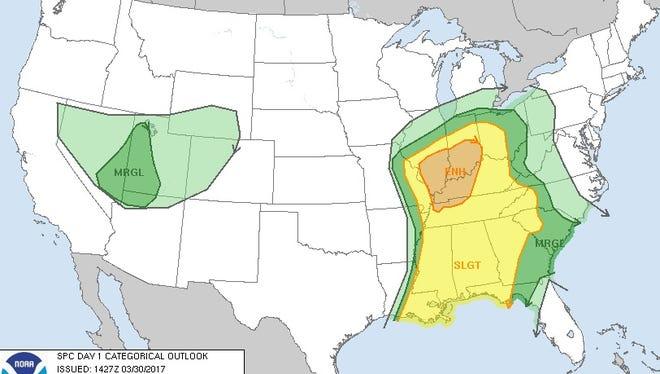SPC outlook map